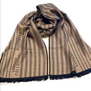 Versace Collection Men's Logo Wool Blended Scarf